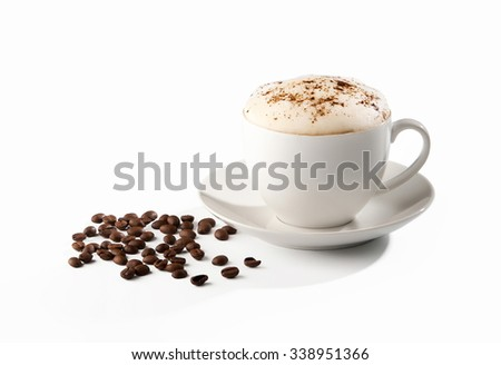 Coffee cup and beans isolated on white background. - stock photo
