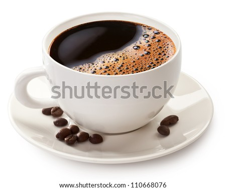Coffee cup and beans on a white background. File contains the path to cut. - stock photo