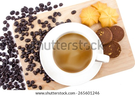 Coffee cup and Chocolate cookies and Butter cookies on a white background , breakfast