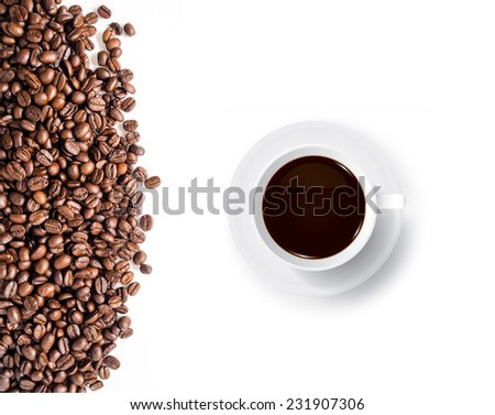 Coffee cup and coffee beans on white background. - stock photo