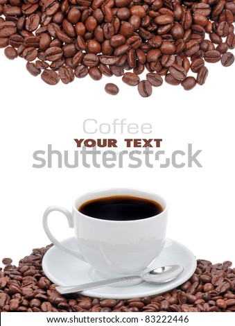 Coffee cup and grain isolated on white background