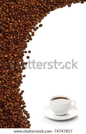 Coffee cup and grain on white background - stock photo