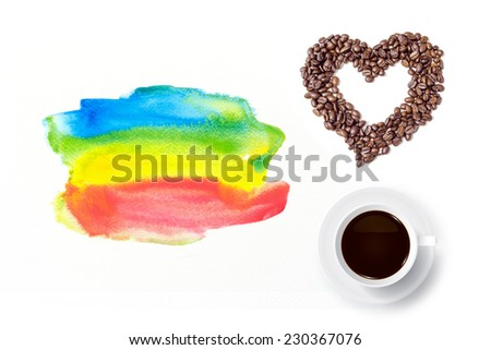 Coffee cup and heart of coffee beans with watercolor brush background on white. - stock photo