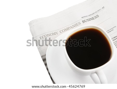 Coffee cup and newspaper isolated on white
