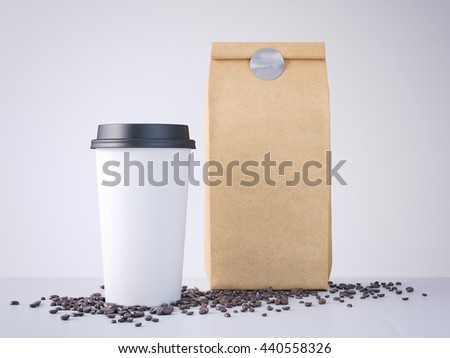 Coffee cup and paper bag on the wooden table in bright room. 3d rendering
