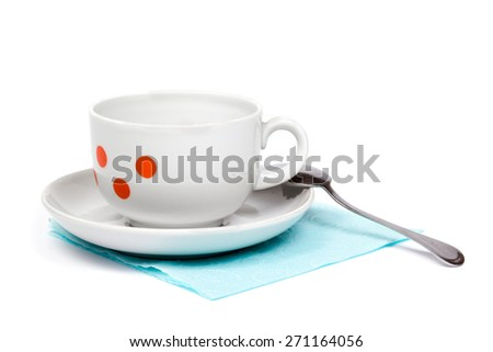 coffee cup and saucer isolated on white background - stock photo