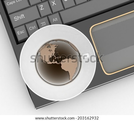 Coffee cup and saucer with a globe on computer keyboard on a white background. 3d illustration