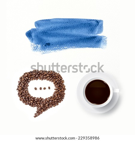 Coffee cup and speech bubble of coffee beans with watercolor brush background. - stock photo