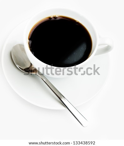 coffee cup and spoon on white background - stock photo