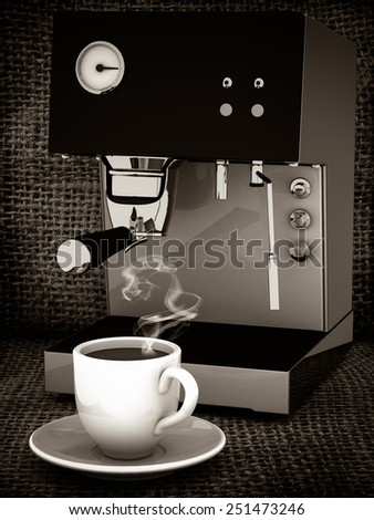 Coffee cup. Black and white image - stock photo