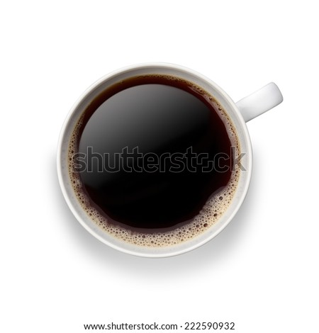 Coffee cup/ Black Coffee in a white cup  with bubbles.clipping Path - stock photo