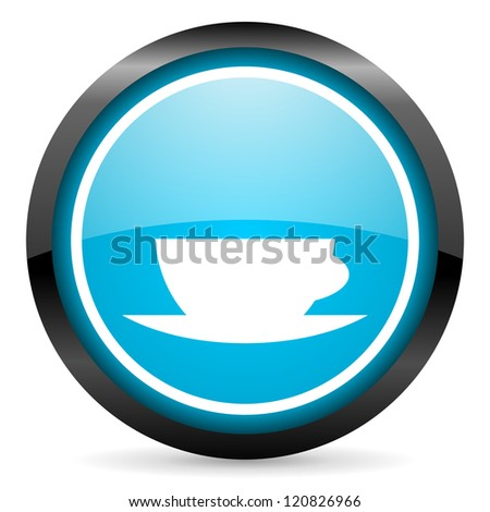 coffee cup blue glossy circle icon on white background