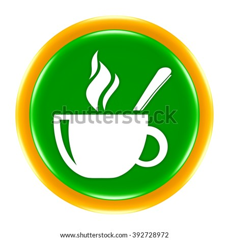 coffee cup button isolated  - stock photo