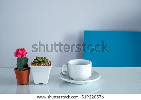 Coffee cup, Cactus, Succulent flower pots on modern dining table / Interior design, redecoration &  modern lifestyle conceptual