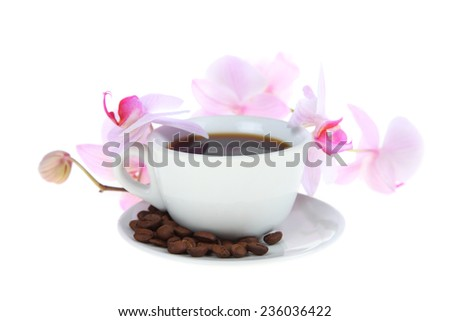 Coffee cup, grains and pink orchid on a white background - stock photo