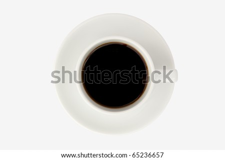 Coffee cup isolate on white background,top view