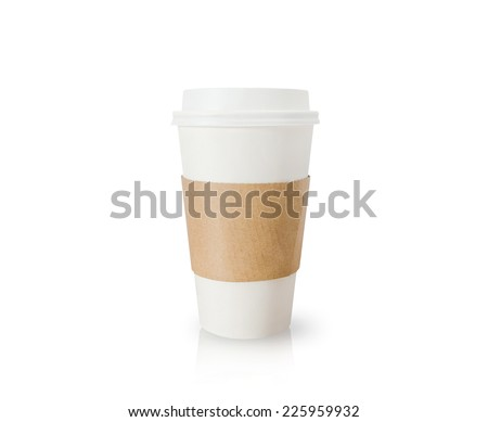 Coffee cup isolated on white background. - stock photo