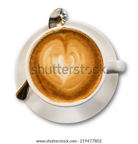 Coffee cup isolated on white background with clipping path.Latte art heart shape. - stock photo