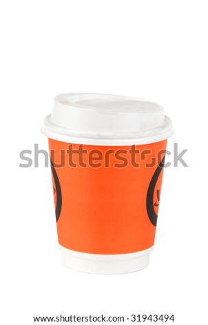 Coffee cup isolated over white background. Clipping path included. - stock photo