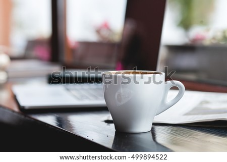 Coffee cup , laptop in coffee shop , for business, Selective focus
