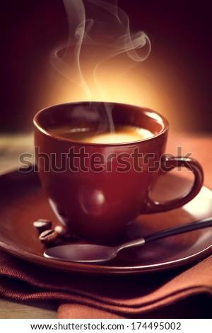 Coffee. Cup of Coffee closeup. Espresso - stock photo