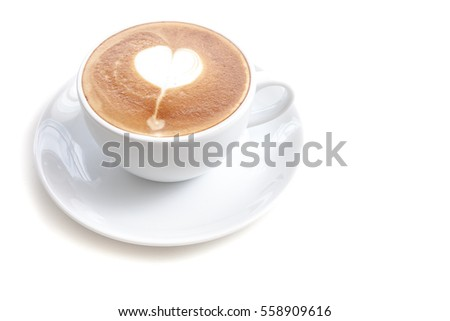 Coffee cup of latte art heart shape on white background isolated, left alignment