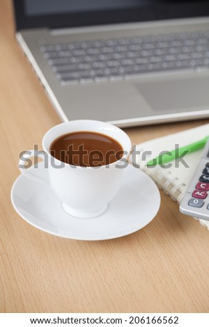 Coffee Cup on Business Table Workplace - stock photo
