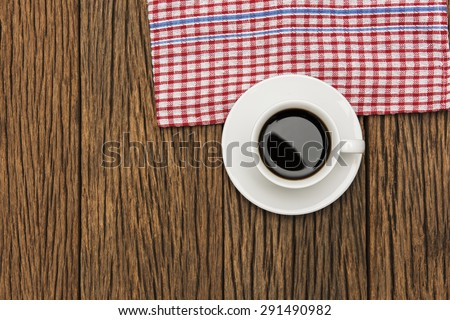 Coffee Cup On Wood Background - stock photo