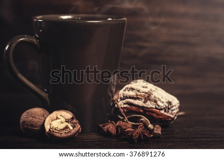 Coffee cup on wooden background/Still life.