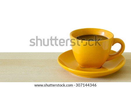 coffee cup on wooden table, isolated on white - stock photo