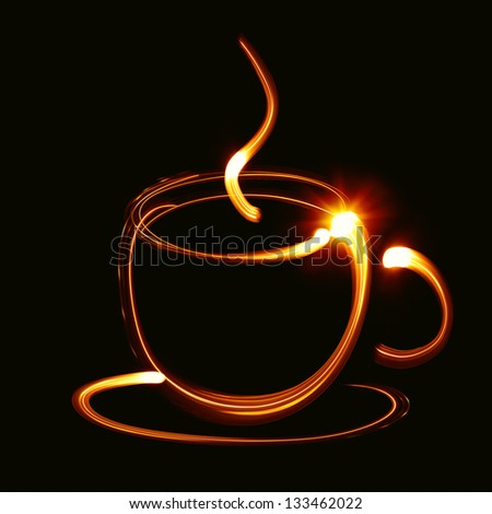 Coffee cup pictured by light - stock photo