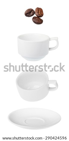 coffee cup saucer isolated on white background a few roasted coffee beans - stock photo