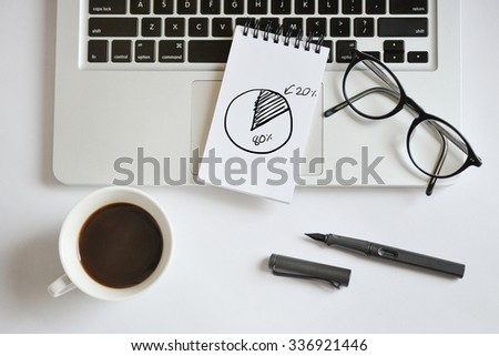 Coffee cup, spiral notebook, computer keyboard, and pen on white background - taken in natural light  with strong shodow to create realistic indoor mood - stock photo