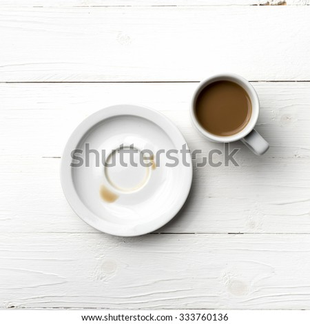 coffee cup stain on white table - stock photo