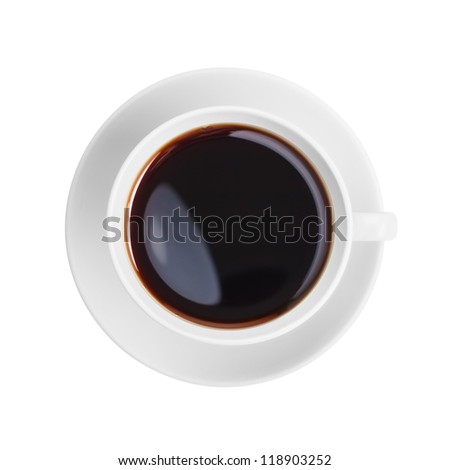 coffee cup top view isolated on white - stock photo