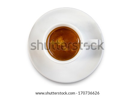 Coffee cup top view isolated on white background with reflect,clipping path - stock photo