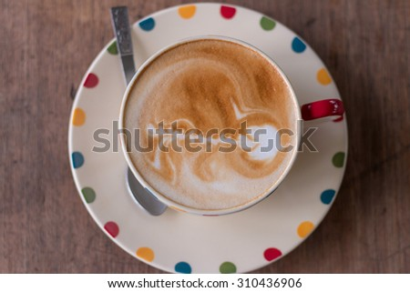 coffee cup, Top view of a paper cup of black coffee on wooden table. coffee cup. Soft focus. - stock photo