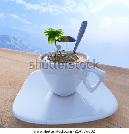 Coffee cup vacation relaxing concept composition with palm and chair - stock photo