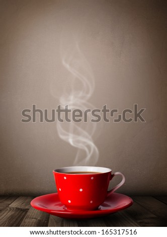 Coffee cup with abstract white steam, close up - stock photo