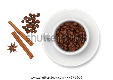 Coffee cup with beans, anise and cinnamon. Above view. Isolated on white background - stock photo