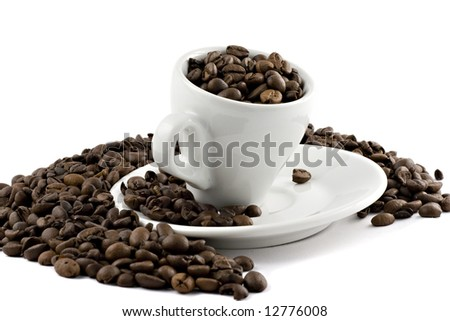 coffee cup with beans isolated on white - stock photo