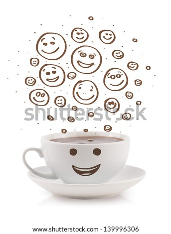 Coffee-cup with brown hand drawn happy smiley faces, isolated on white - stock photo