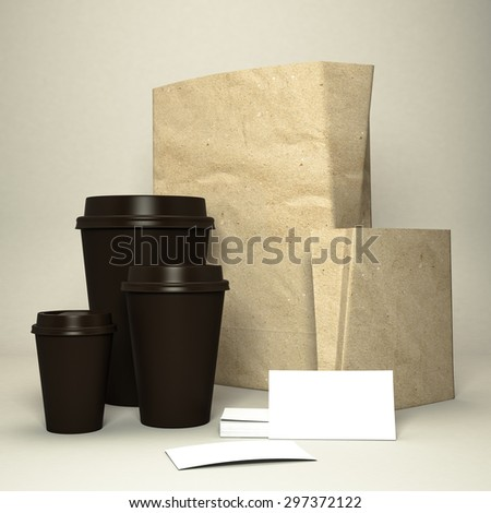 Coffee cup with coffee beans and paper bag High resolution - stock photo