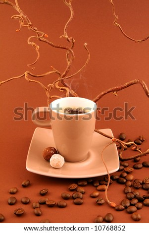 Coffee cup with coffee-beans on toning brown shaggy surface - stock photo