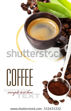 Coffee cup with coffee stain over white (with sample text) - stock photo
