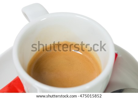 Coffee cup with espresso crema. Macro. Photo can be used as a whole background.