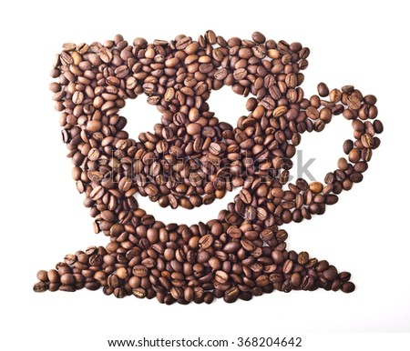 Coffee Cup with face and smile from Coffee beans on white isolated background - stock photo