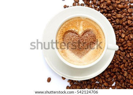 coffee cup with heart shape made of foam