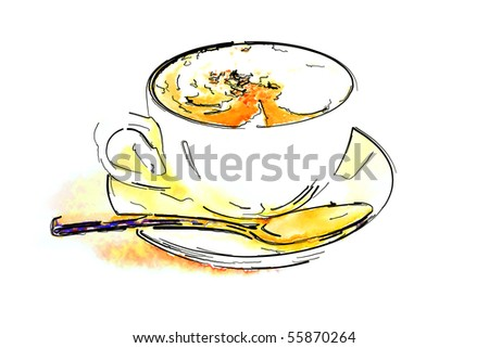Coffee Cup with hot coffee - art style - stock photo