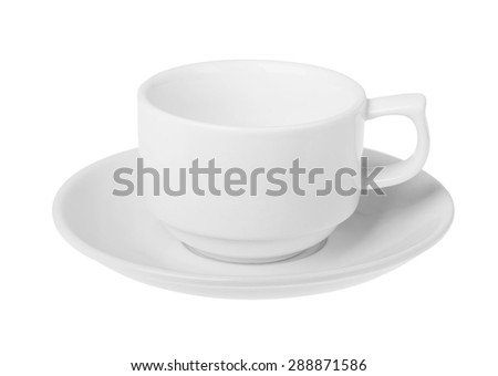 coffee cup with saucer isolated on white background - stock photo